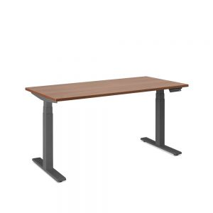 Poppin Series L Height Adjustable Table, Walnut, Charcoal Base-57″