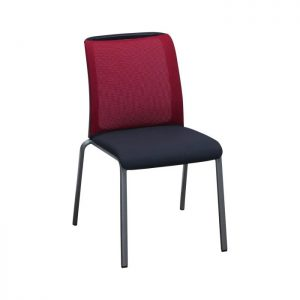 Steelcase Reply Used Mesh Armless Stack Chair, Red and Black