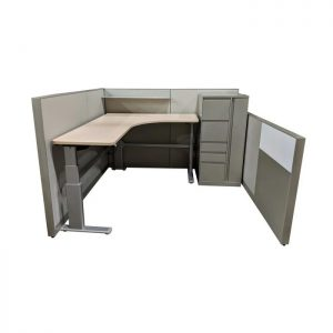 Steelcase Answer 7×6 Used Cubicle w Adjustable Desk Left Return – Sold in Pods of 8