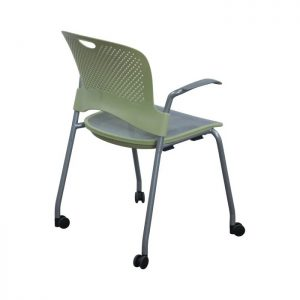 Herman Miller Caper Used Mobile Stack Chair, Yellow and Gray