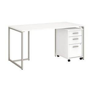 Method 60″ Table Desk With 3 Drawer Cabinet White, San Francisco